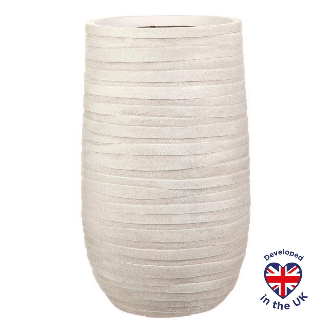 Напольное кашпо для цветов Idealist Lite Роу, слоновая кость, Д26.5 В45 см, 24 л