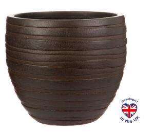 Настольное кашпо для цветов Idealist Lite Роу, круглое, коричневое, Д27 В25.5 см, 14 л