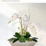 Настольное кашпо для цветов Идеалист Стоун диш, круглое, молочное, Д37 В13,5 см, 14 л