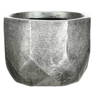 Настольный горшок для цветов Idealist Lite Геометри, круглый, серебряный, Д37 В27 см, 29 л