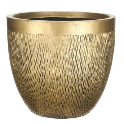Настольный горшок для цветов Idealist Lite Лотус, круглый, бронзовый, Д26.5 В24.5 см, 13 л