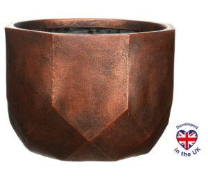 Настольное кашпо для цветов Idealist Lite Геометри, круглое, цвет - бронза, Д30 В22 см, 15 л