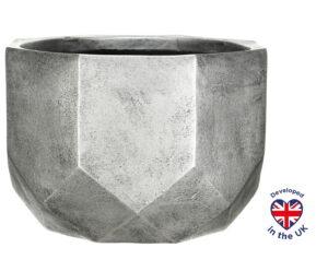 Настольное кашпо для цветов Idealist Lite Геометри, круглое, серебристое, Д30 В22 см, 15 л