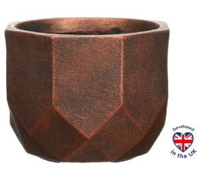 Напольное кашпо для цветов Idealist Lite Геометри, круглое, цвет - бронза, Д46 В32 см, 53 л