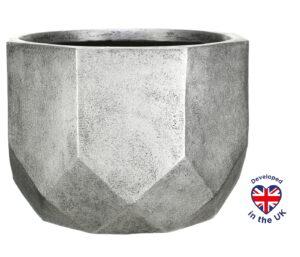 Напольное кашпо для цветов Idealist Lite Геометри, круглое, серебристое, Д46 В32 см, 53 л