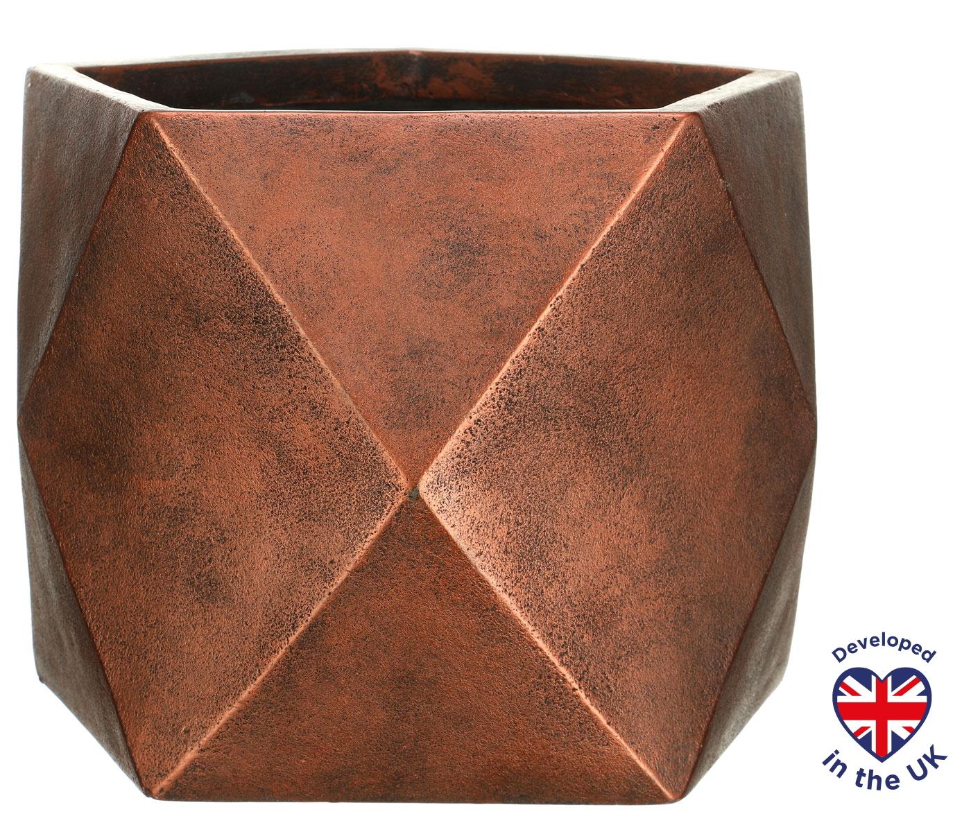 Настольное кашпо для цветов Idealist Lite Геометри, цвет - бронза, Ш38 Д38 В30 см, 43 л