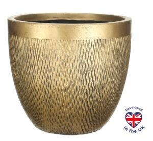 Напольное кашпо для цветов Idealist Lite Лотус, круглое, золотистое, Д37 В33.5 см, 36 л