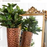 Напольное кашпо для цветов Idealist Lite Мозаик, цвет - бронза, Д31.5 В61 см, 47 л