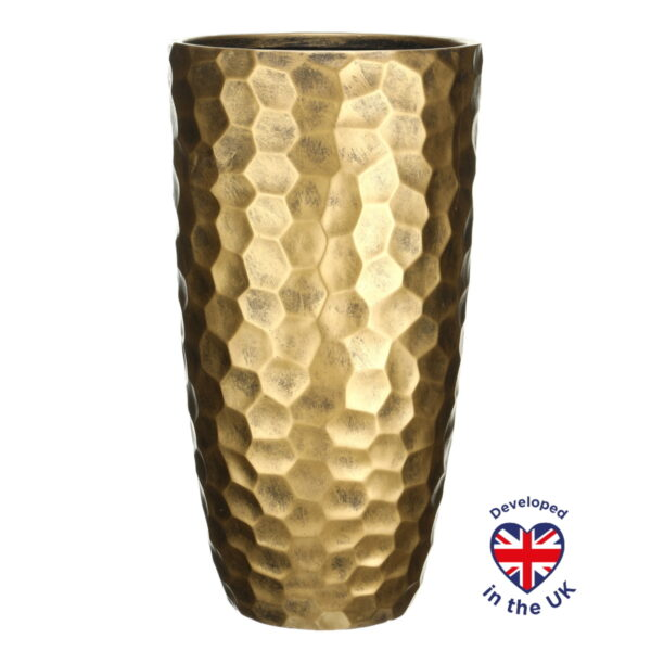 Напольное кашпо для цветов Idealist Lite Мозаик, золотистое, Д31.5 В61 см, 47 л
