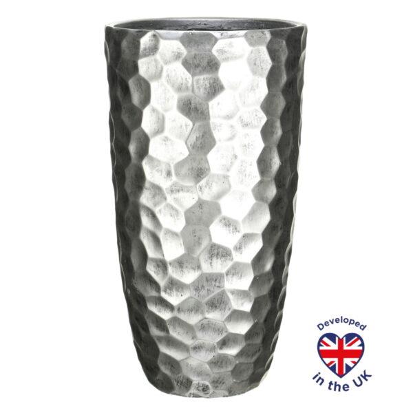 Напольное кашпо для цветов Idealist Lite Мозаик, серебристое, Д41.5 В77 см, 104 л