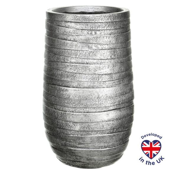 Напольное кашпо для цветов Idealist Lite Роу, серебристое, Д26.5 В45 см, 24 л