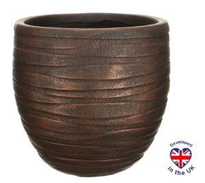 Настольное кашпо для цветов Idealist Lite Роу, круглое, цвет - бронза, Д27 В25.5 см, 14 л