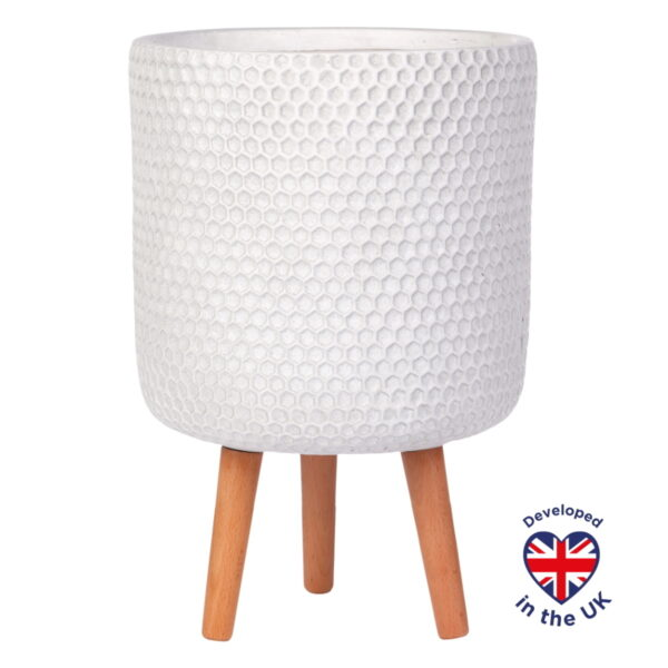 Напольное кашпо для цветов Idealist Lite Ханни, круглое, белое, Д31 В47 см, 19.8 л