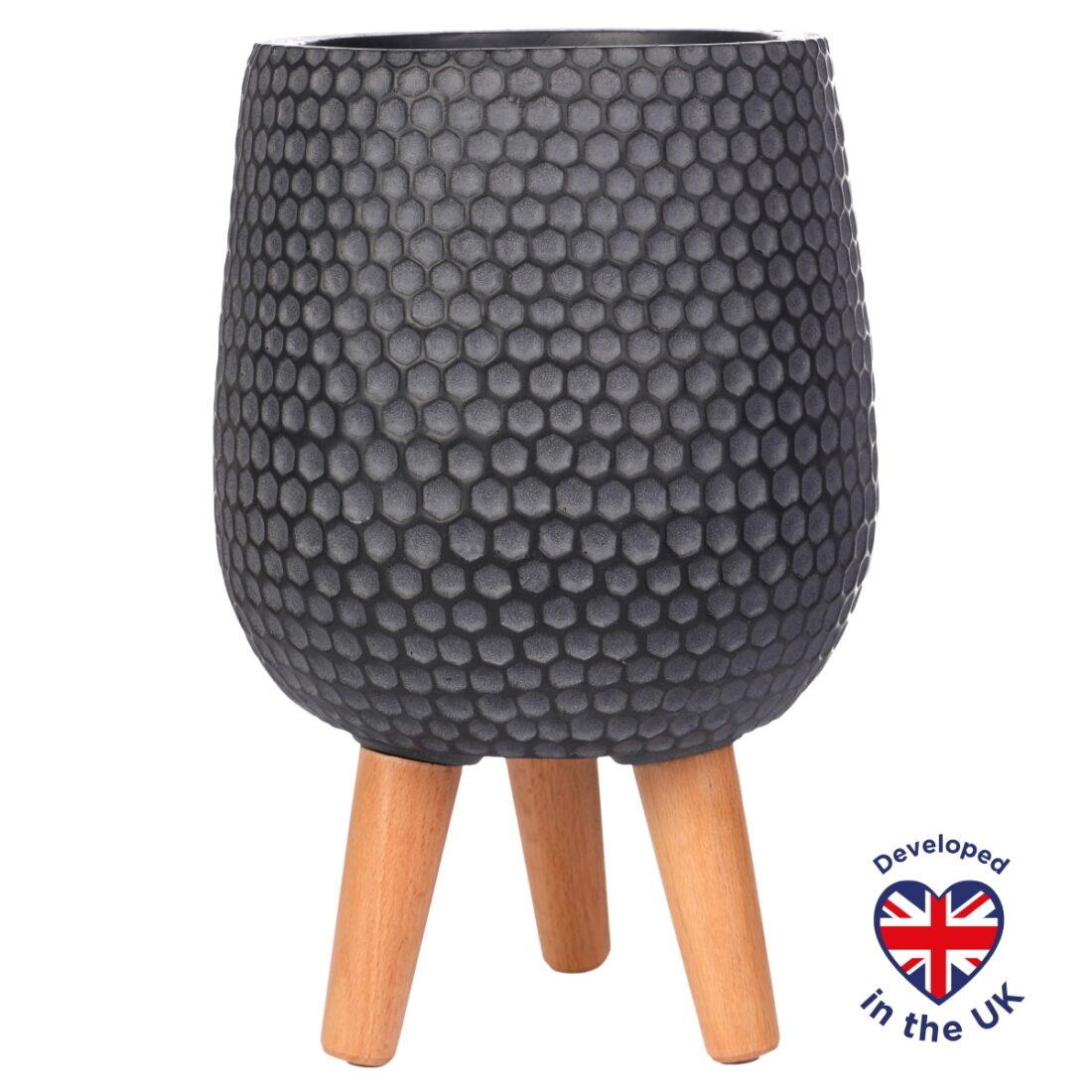Напольное кашпо для цветов Idealist Lite Ханни, круглое, черное, Д32 В43 см, 21.9 л