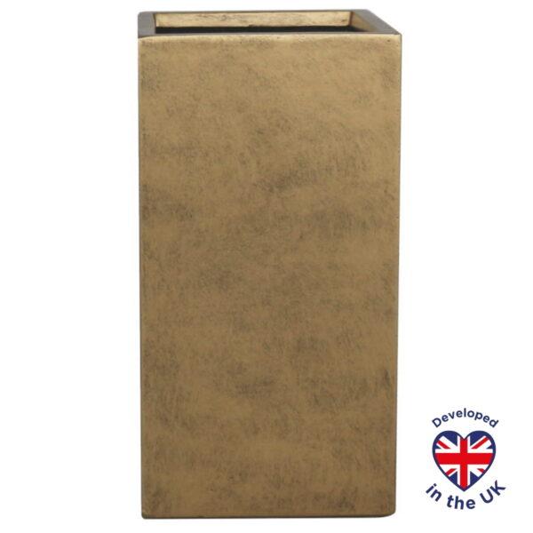 Напольное кашпо для цветов Idealist Lite Крисмас, квадратное, золотистое Д29 Ш29 В55 см, 46.3 л