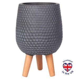 Напольное кашпо для цветов Idealist Lite Ханни, круглое, серое, Д22 В34 см, 6.9 л