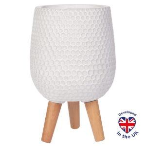 Напольное кашпо для цветов Idealist Lite Ханни, круглое, белое, Д22 В34 см, 6.9 л