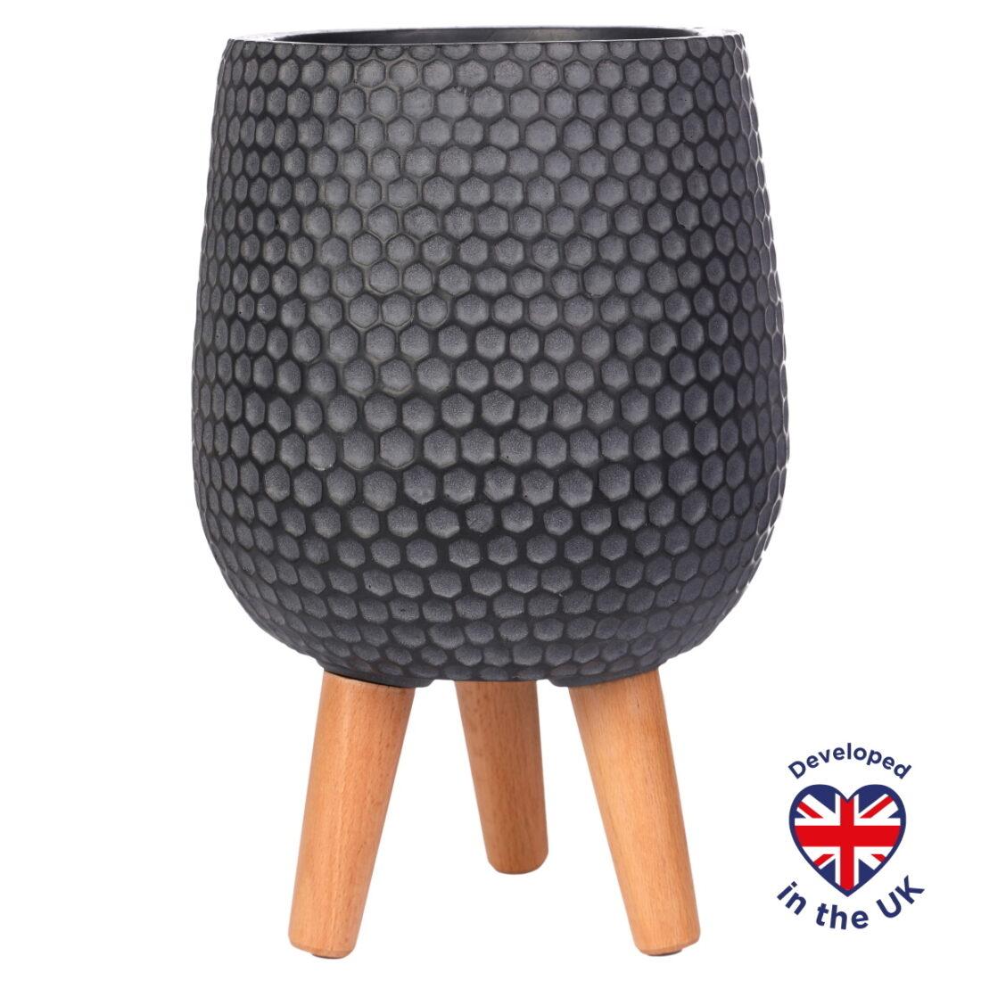 Напольное кашпо для цветов Idealist Lite Ханни, круглое, черное, Д22 В34 см, 6.9 л
