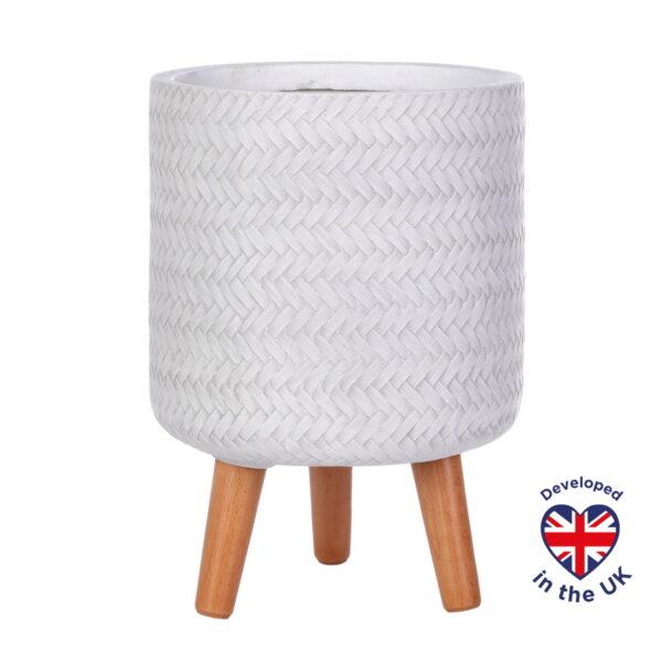 Настольное кашпо для цветов Idealist Lite Плейт, круглое, белое, Д24 В35 см, 8.7 л