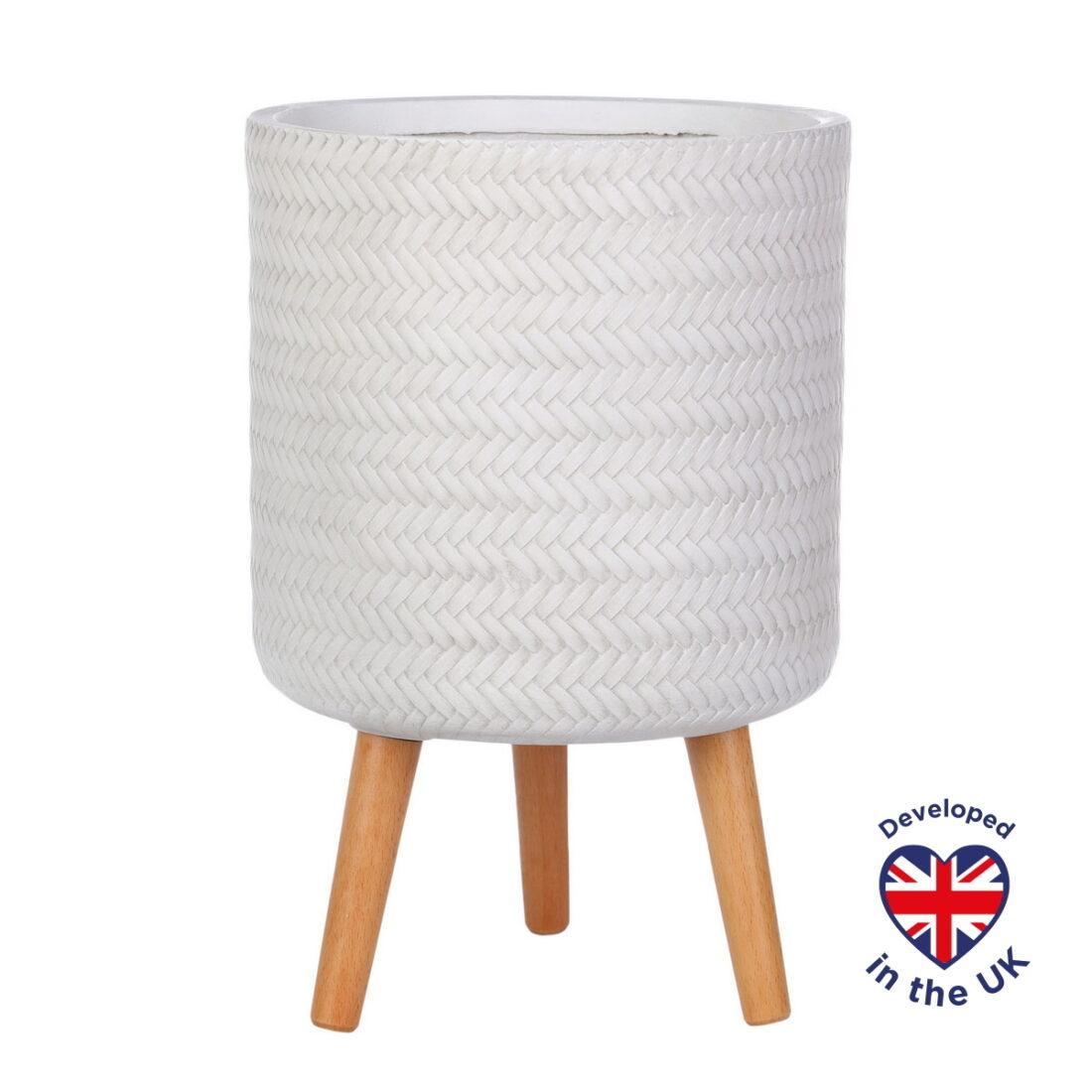 Напольное кашпо для цветов Idealist Lite Плейт, круглое, белое, Д30 В46 см, 17.9 л