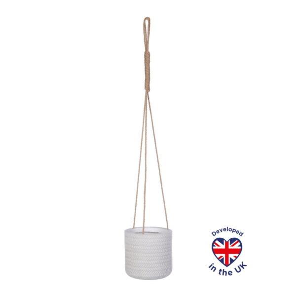 Подвесное кашпо для цветов Idealist Lite Плейт, белое, Д18 В18 см, 2.5 л