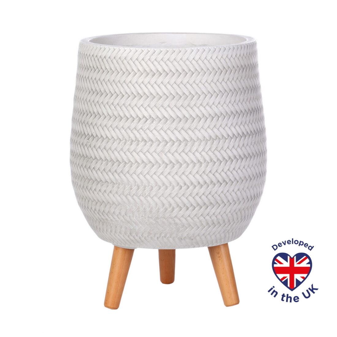 Напольное кашпо для цветов Idealist Lite Плейт, круглое, белое, Д32 В43 см, 21.9 л