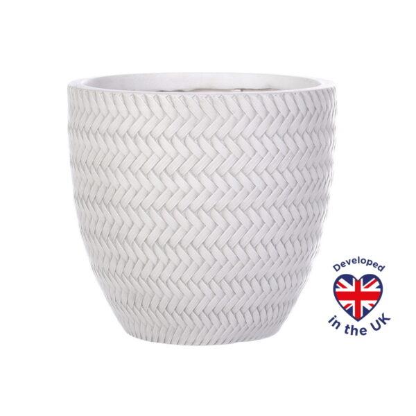 Настольное кашпо для цветов Idealist Lite Плейт, белое, Д24 В23 см, 10.4 л