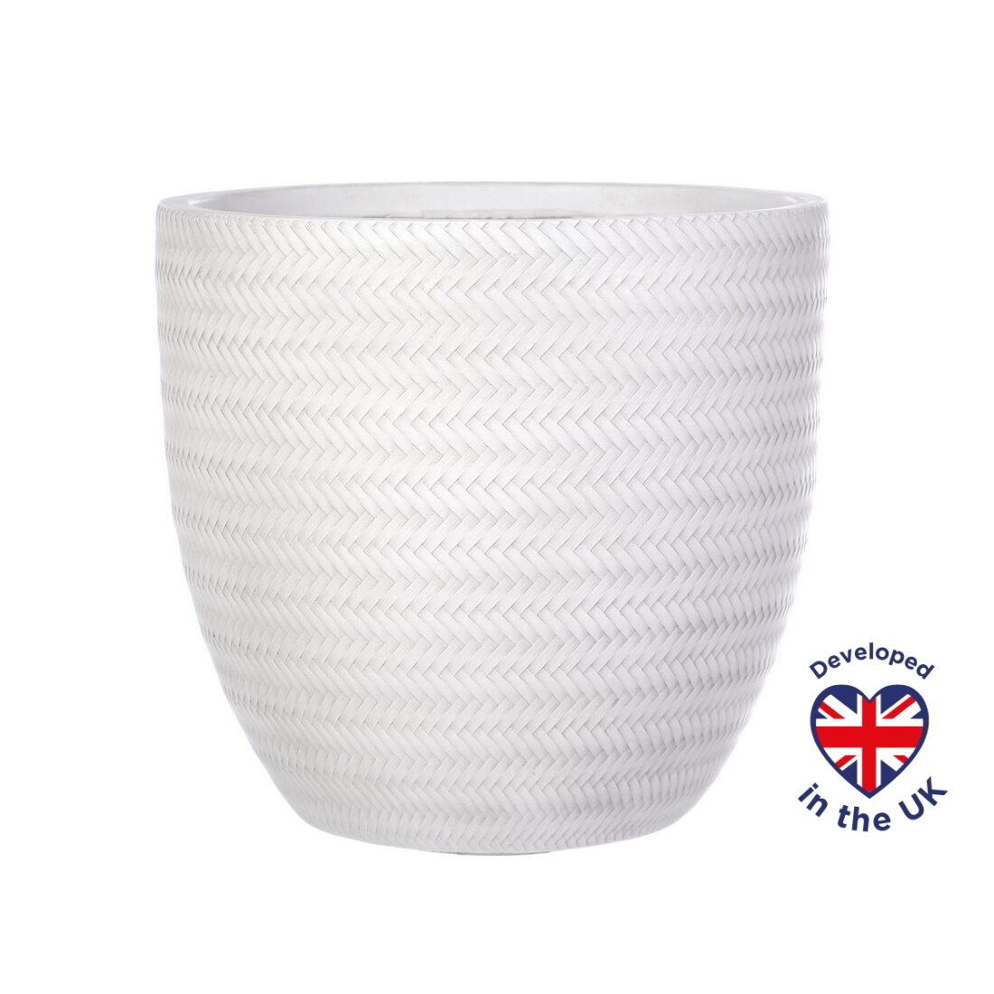 Напольное кашпо для цветов Idealist Lite Плейт, белое, Д37 В34.5 см, 37.1 л