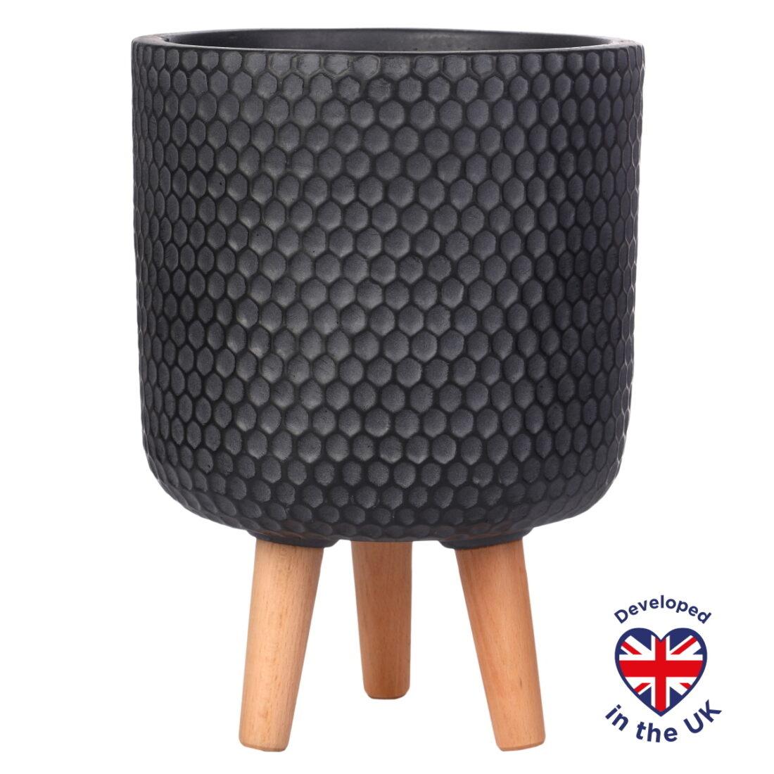Напольное кашпо для цветов Idealist Lite Ханни, круглое, черное, Д25 В34 см, 9.1 л