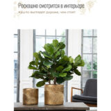 Напольное кашпо для цветов Idealist Lite Лист, золотистое, Д31 В31 см, 23.4 л