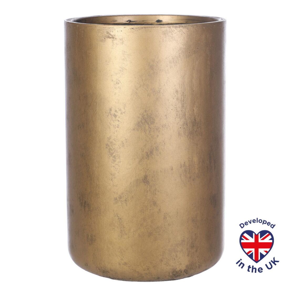 Напольное кашпо для цветов Idealist Lite Крисмас, круглое, золотистое, Д32 В50 см, 40.2 л