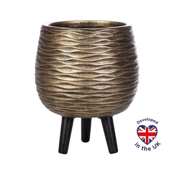 Напольное кашпо для цветов Idealist Lite Паттерн, золотистое, Д29 В37 см, 14.3 л