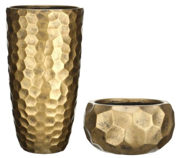 Настольное кашпо для цветов Idealist Lite Мозаик, круглое, золотистое, Д29.5 В15 см, 10 л + Напольное кашпо для цветов Idealist Lite Мозаик, золотистое, Д31.5 В61 см, 47 л