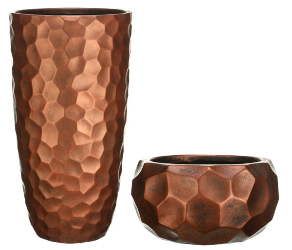 Настольное кашпо для цветов Idealist Lite Мозаик, круглое, цвет – бронза, Д29.5 В15 см, 10 л + Напольное кашпо для цветов Idealist Lite Мозаик, цвет – бронза, Д31.5 В61 см, 47 л