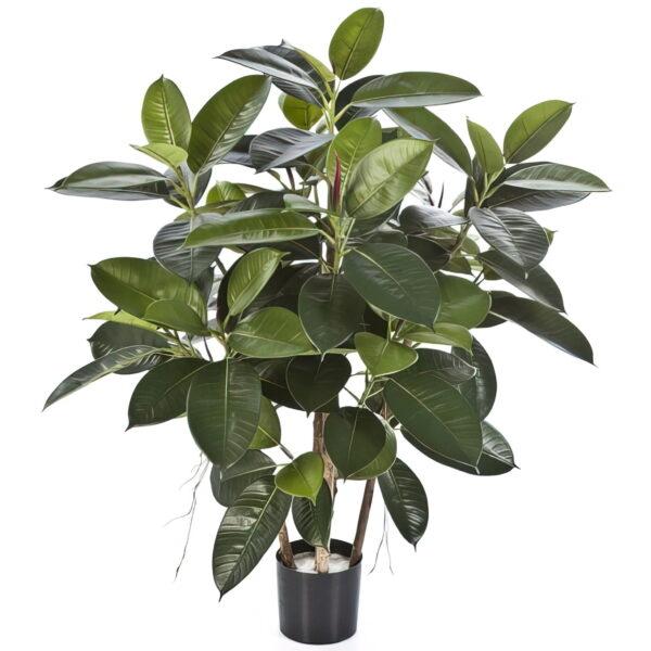 Искусственное растение Фикус Эластика, куст, высота 90 см