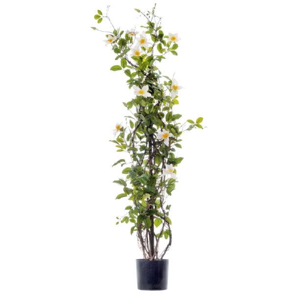 Искусственное растение Клематис на лозе, бело-розовый, высота 150 см